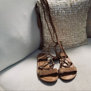 ASOS Sandals suede wrap up calf Sz 5M Fall trend
